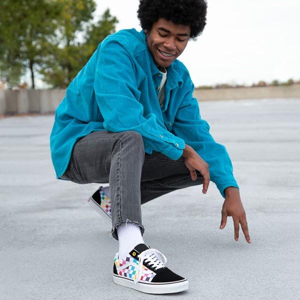 alternate image alternate view Vans Old Skool Rainbow Checkerboard Skate Shoe - Black / MultiALT1B