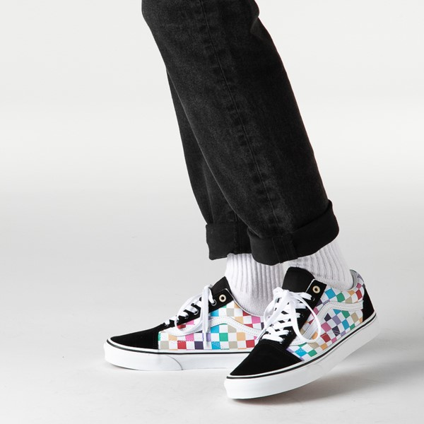 alternate image alternate view Vans Old Skool Rainbow Checkerboard Skate ShoeB-LIFESTYLE1