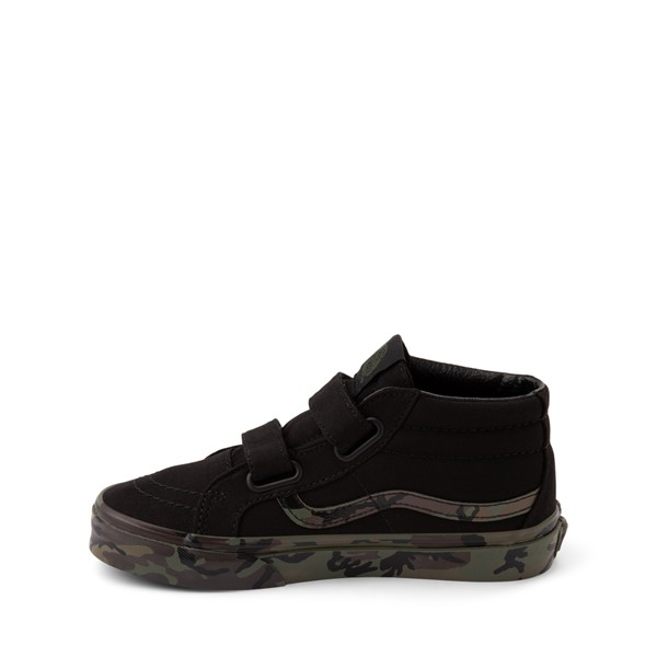 alternate image alternate view Vans Sk8 Mid V Skate Shoe - Little Kid - Black / CamoALT1