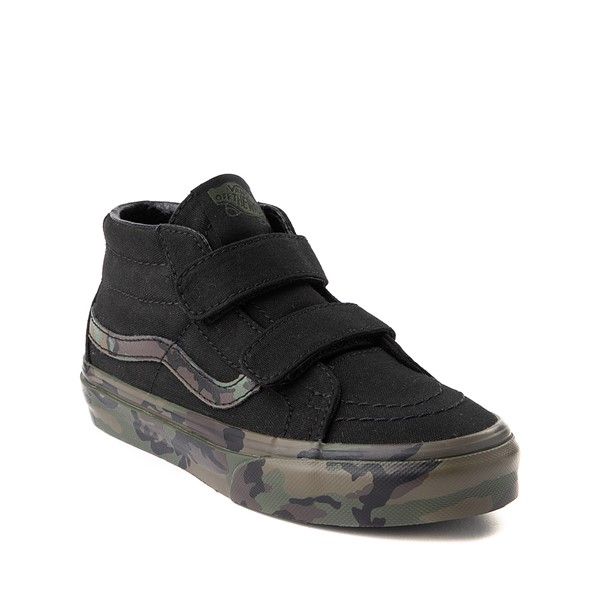 alternate image alternate view Vans Sk8 Mid V Skate Shoe - Little Kid - Black / CamoALT5