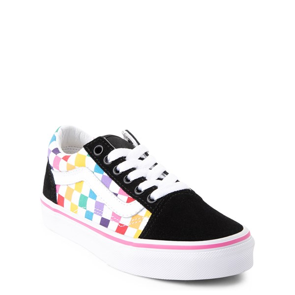 alternate image alternate view Vans Old Skool Rainbow Checkerboard Skate Shoe - Little Kid - Black / MultiALT1