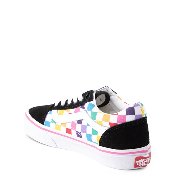 alternate image alternate view Vans Old Skool Rainbow Checkerboard Skate Shoe - Little Kid - Black / MultiALT2