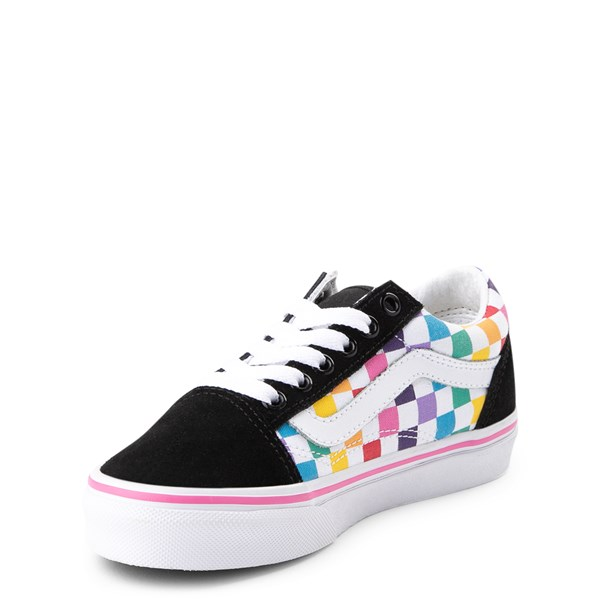 alternate image alternate view Vans Old Skool Rainbow Checkerboard Skate Shoe - Little Kid - Black / MultiALT3