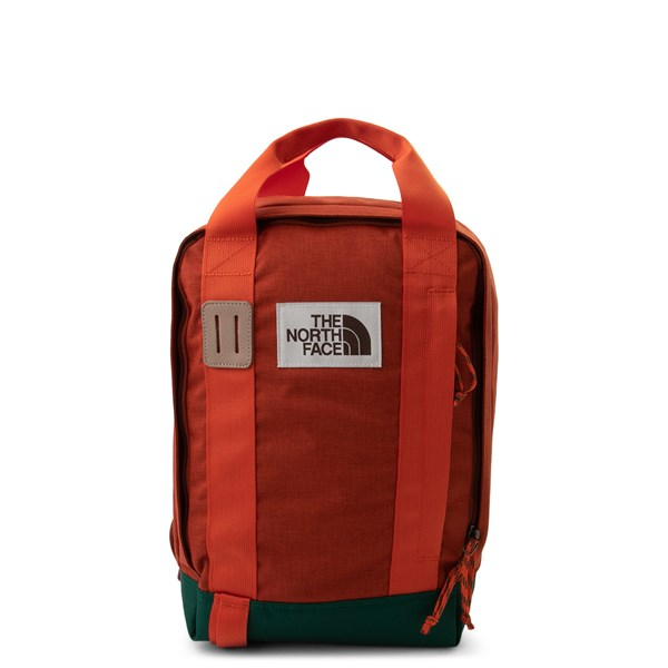 Main view of The North Face Tote Backpack - Picante Red / Dark Night Green