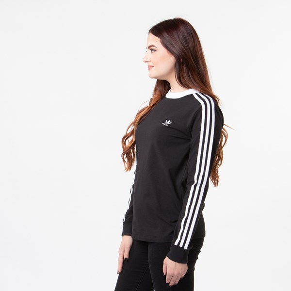 alternate image alternate view Womens adidas 3-Stripes Long Sleeve TeeALT2