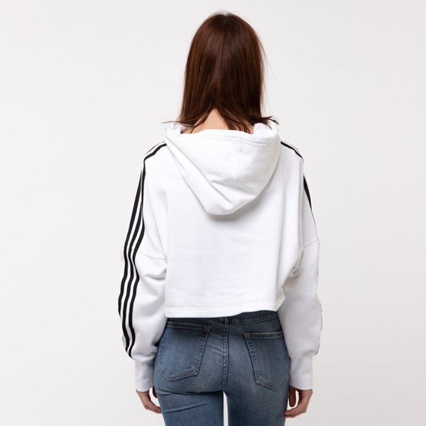 alternate image alternate view Womens adidas Originals 3-Stripes Cropped HoodieALT1B