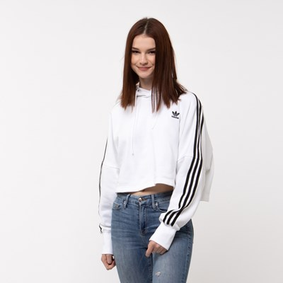 Main view of Womens adidas Originals 3-Stripes Cropped Hoodie