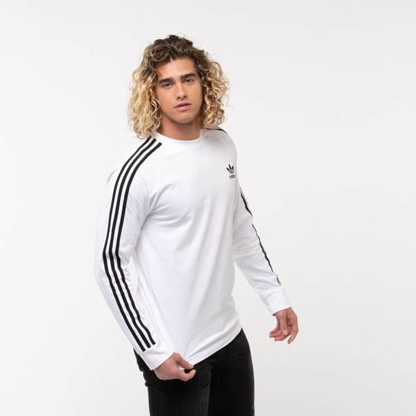 alternate image alternate view Mens adidas 3-Stripes Long Sleeve TeeALT3