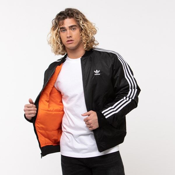 alternate image alternate view Mens adidas Originals 3-Stripes Padded Bomber JacketALT1