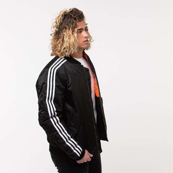alternate image alternate view Mens adidas Originals 3-Stripes Padded Bomber JacketALT3