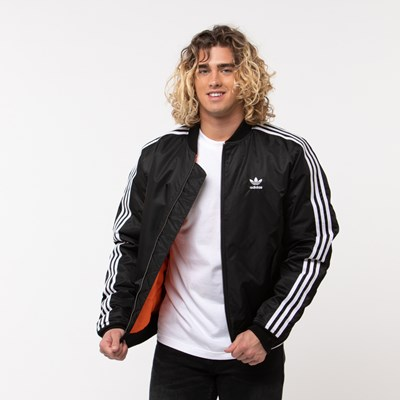 Main view of Mens adidas Originals 3-Stripes Padded Bomber Jacket
