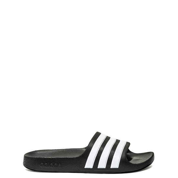 Main view of adidas Adilette Shower Slide Sandal - Little Kid / Big Kid - Black / White