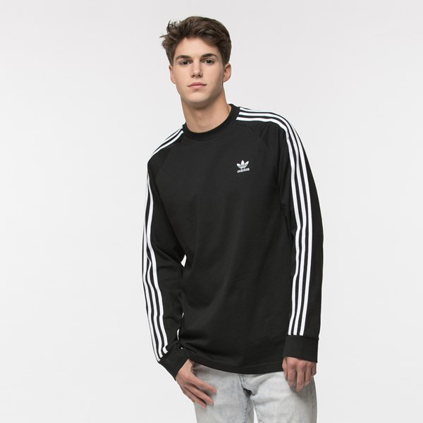 Main view of Mens adidas 3 Stripe Long Sleeve Tee - Black
