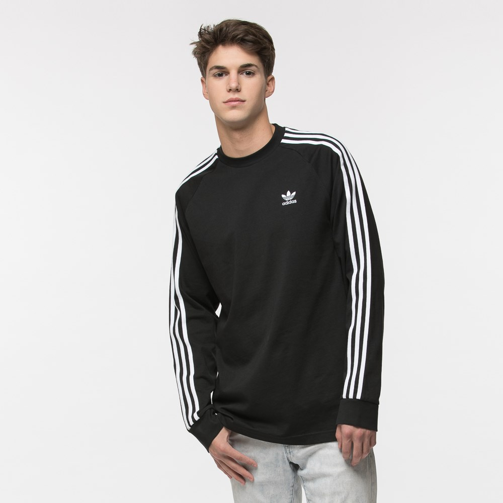 Mens adidas 3 Stripe Long Sleeve Tee
