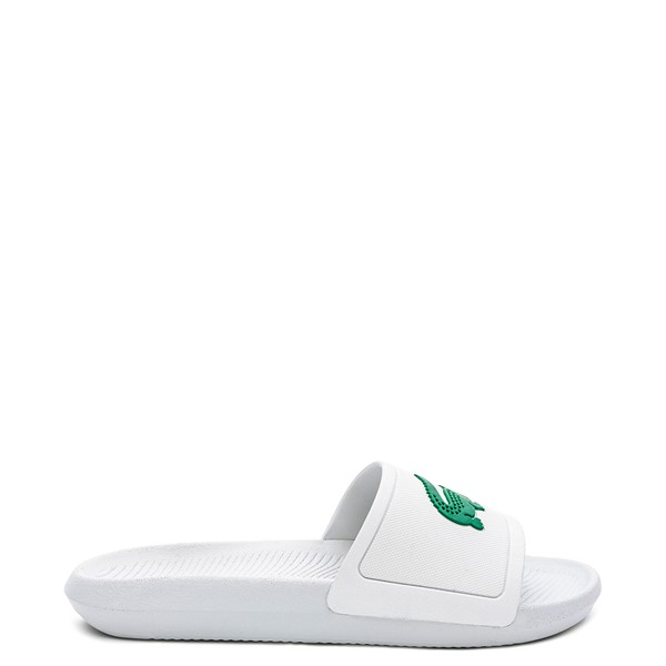 Main view of Womens Lacoste Croco Slide Sandal - White / Green