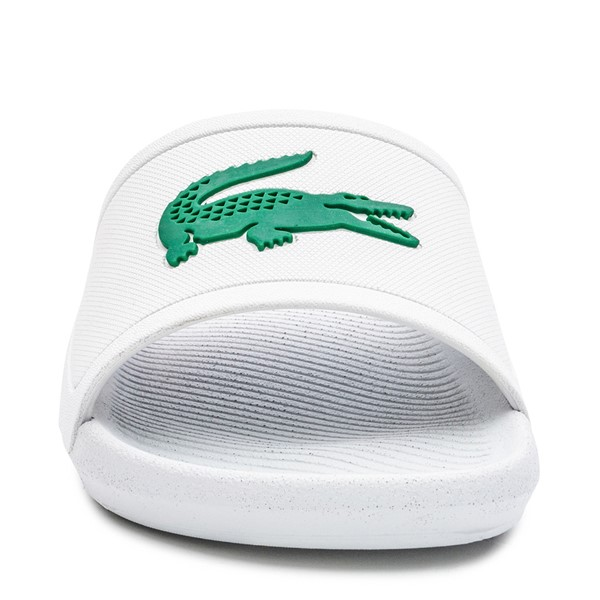 alternate image alternate view Womens Lacoste Croco Slide Sandal - White / GreenALT4