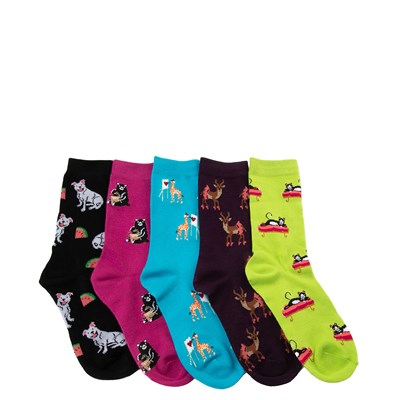 Main view of Womens Artsy Critters Crew Socks 5 Pack