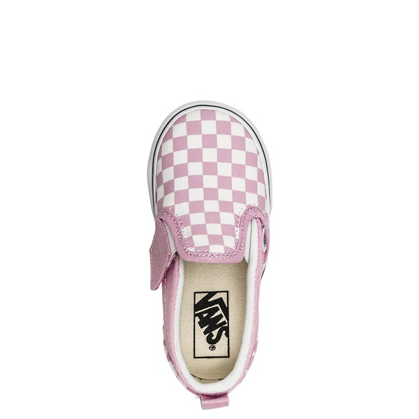 alternate image alternate view Vans Slip On Checkerboard Skate Shoe - Baby / Toddler - Lilac SnowALT4B