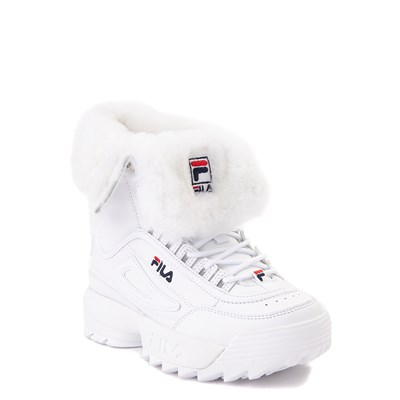 Alternate view of Fila Disruptor Shearling Boot - Little Kid - White