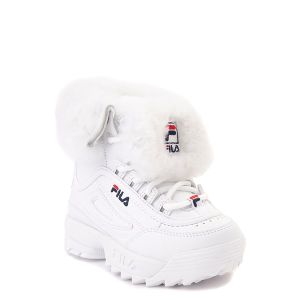 alternate image alternate view Fila Disruptor Shearling Boot - Baby / Toddler - WhiteALT1
