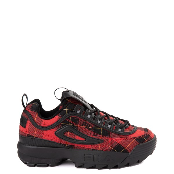 Womens Fila Disruptor 2 Premium Athletic Shoe - Black / Red Plaid