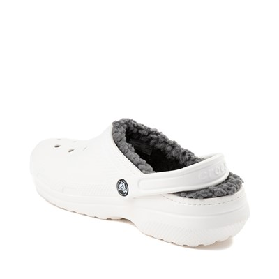 Alternate view of Crocs Classic Fuzz-Lined Clog - White / Grey