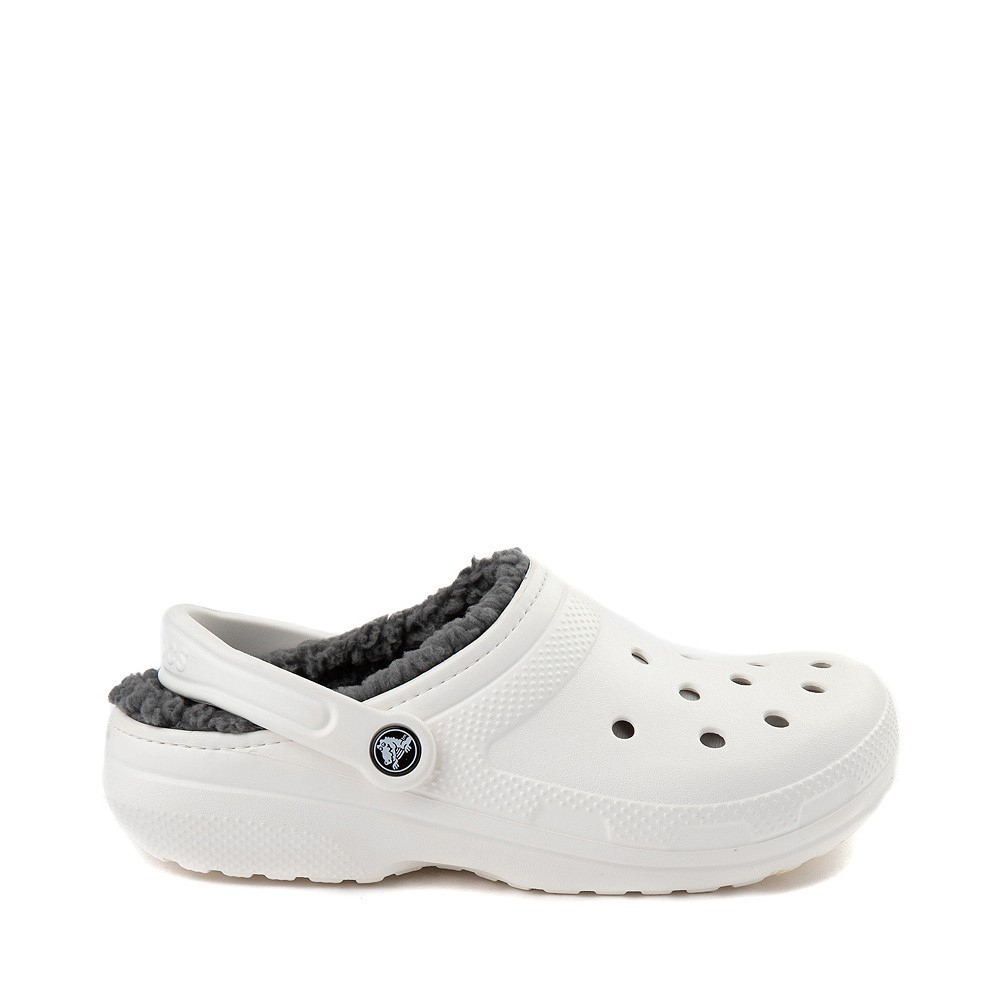 Crocs Classic Fuzz-Lined Clog - White / Grey