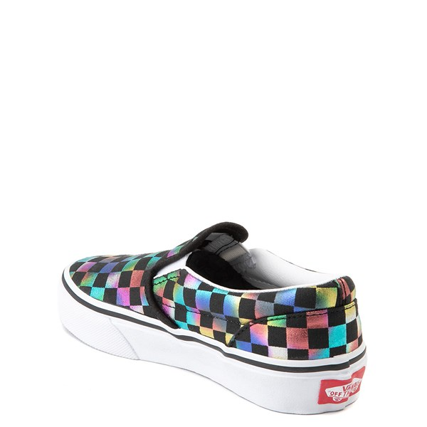 alternate image alternate view Vans Slip On Iridescent Checkerboard Skate Shoe - Little Kid / Big Kid - Black / MultiALT2