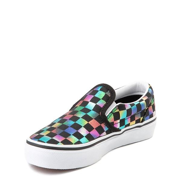alternate image alternate view Vans Slip On Iridescent Checkerboard Skate Shoe - Little Kid / Big Kid - Black / MultiALT3