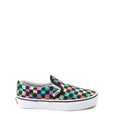 Main view of Vans Slip On Iridescent Checkerboard Skate Shoe - Little Kid / Big Kid - Black / Multi