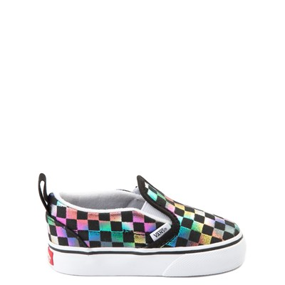 Main view of Vans Slip On Iridescent Checkerboard Skate Shoe - Baby / Toddler
