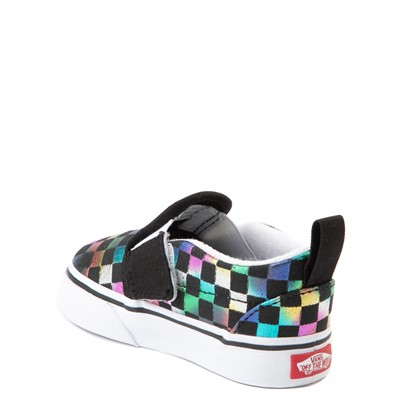 Alternate view of Vans Slip On Iridescent Checkerboard Skate Shoe - Baby / Toddler