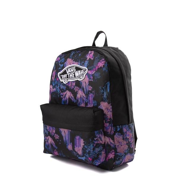 alternate image alternate view Vans Realm Floral Drip Backpack - Black / PurpleALT2