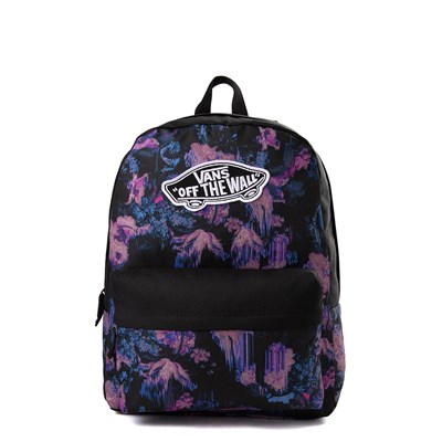 Main view of Vans Realm Floral Drip Backpack - Black / Purple