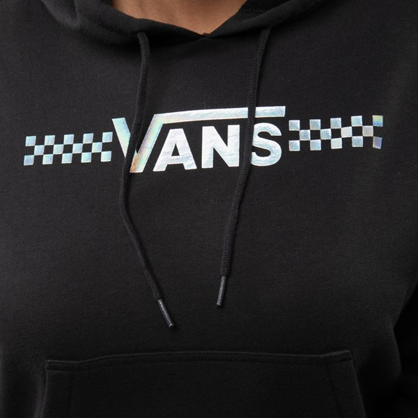 alternate image alternate view Womens Vans Shine It Cropped Hoodie - Black / IridescentALT4