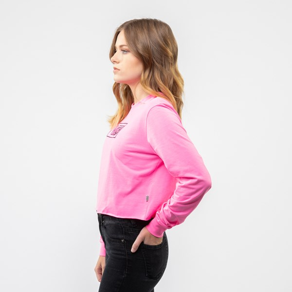 alternate image alternate view Womens Vans After Dark Cropped Long Sleeve Tee - Knockout PinkALT2