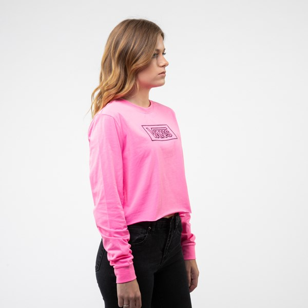 alternate image alternate view Womens Vans After Dark Cropped Long Sleeve Tee - Knockout PinkALT3
