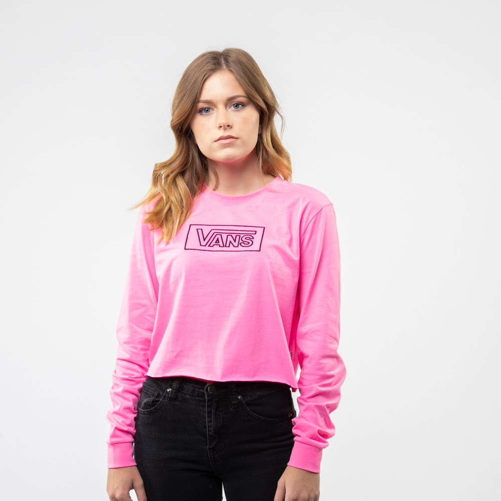 Womens Vans After Dark Cropped Long Sleeve Tee - Knockout Pink