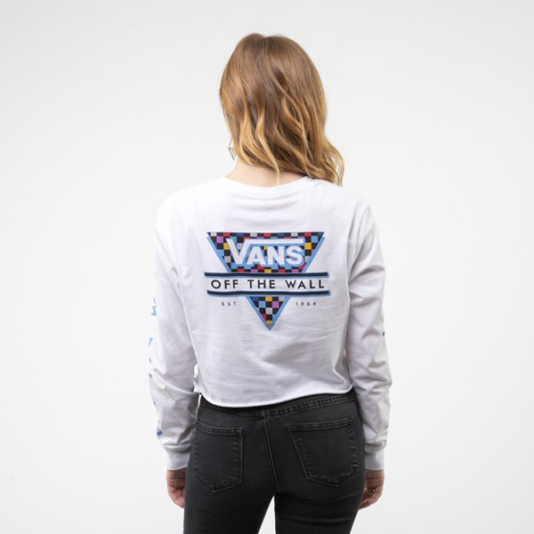 Womens Vans Particulate Cropped Long Sleeve Tee - White