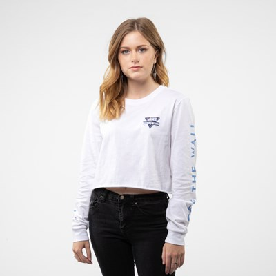 Alternate view of Womens Vans Particulate Cropped Long Sleeve Tee - White