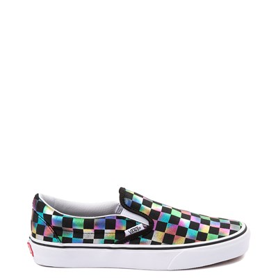Main view of Vans Slip On Iridescent Checkerboard Skate Shoe - Black / Multi