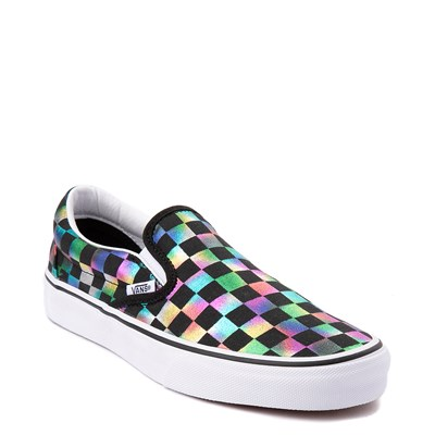 Alternate view of Vans Slip On Iridescent Checkerboard Skate Shoe - Black / Multi