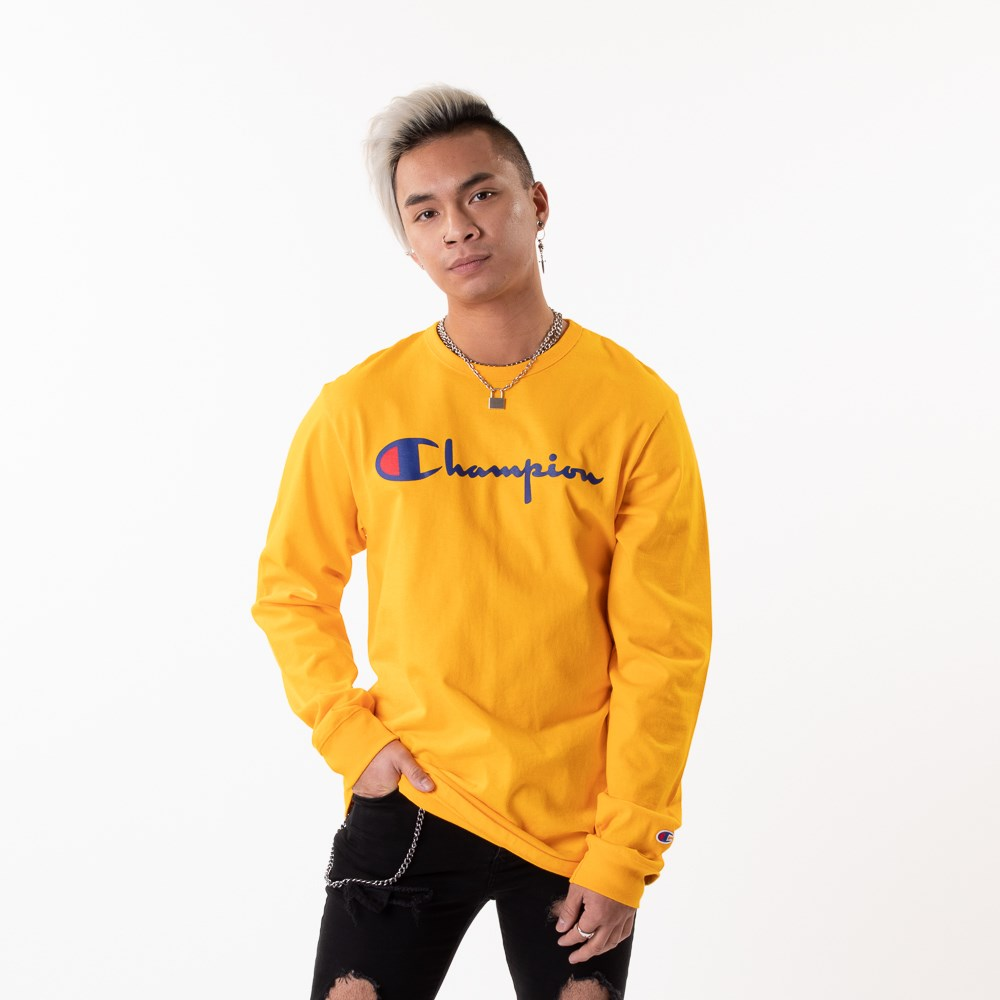 Mens Champion Heritage Long Sleeve Tee - Gold