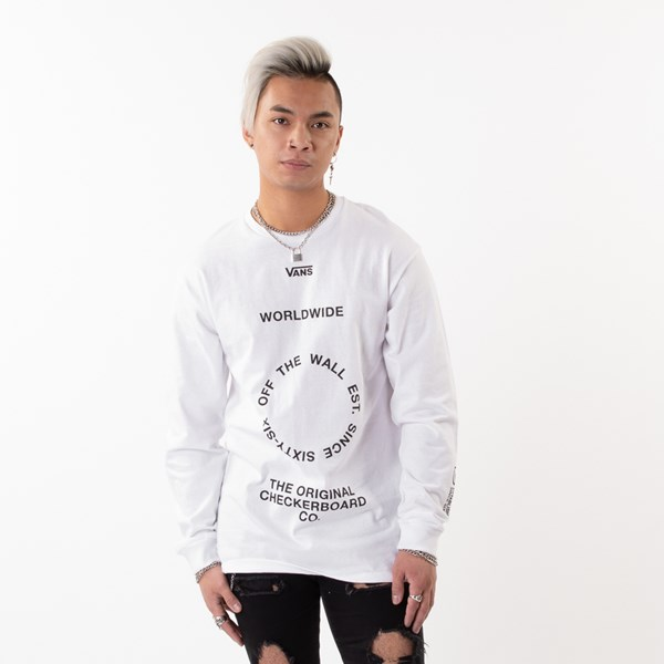 Mens Vans Distortion Long Sleeve Tee - White
