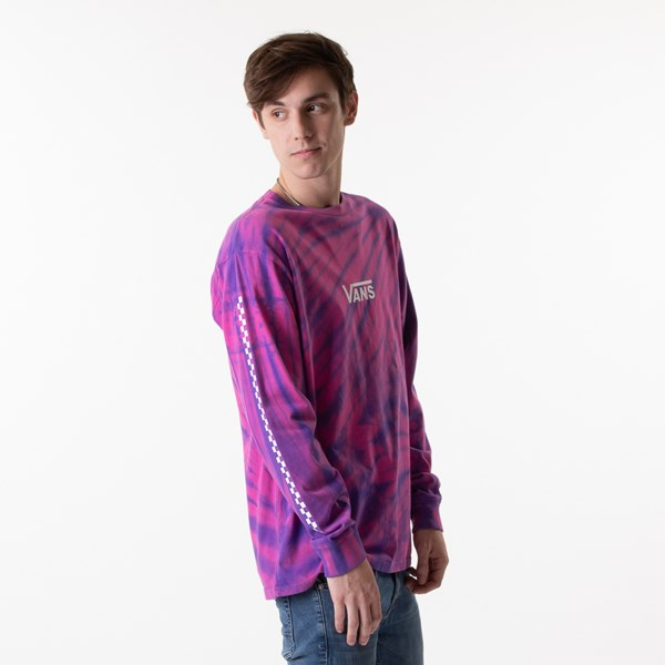 alternate image alternate view Mens Vans Checkered Tie Dye Long Sleeve Tee - Fuchsia / PurpleALT2