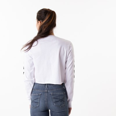 Alternate view of Womens Vans Try Angle Cropped Long Sleeve Tee - White