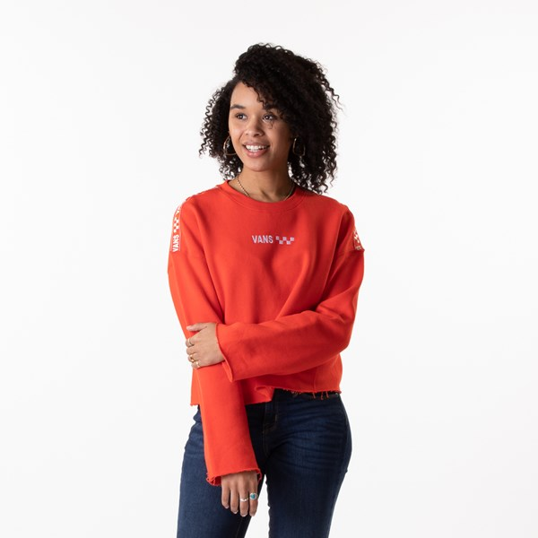 Womens Vans Brand Striper Cropped Sweatshirt - Grenadine