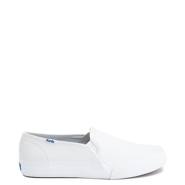 Womens Keds Double Decker Leather Slip On Casual Shoe - White