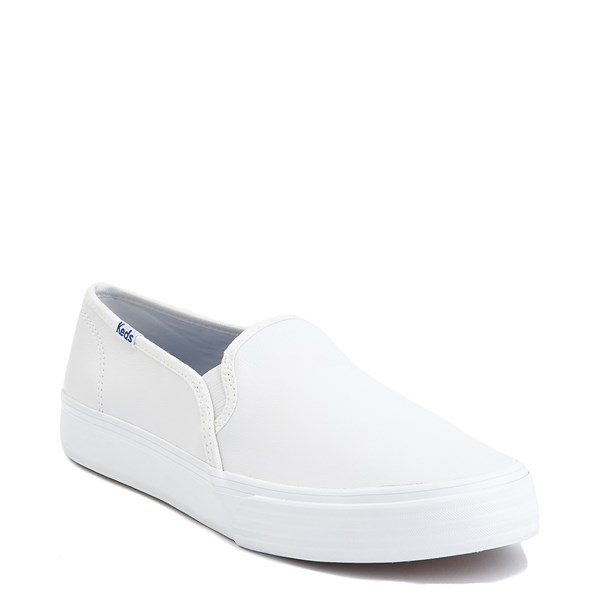 alternate image alternate view Womens Keds Double Decker Leather Slip On Casual Shoe - WhiteALT1