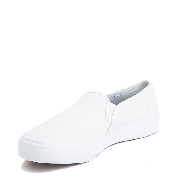 alternate image alternate view Womens Keds Double Decker Leather Slip On Casual Shoe - WhiteALT3